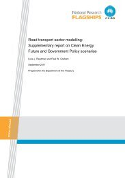 Road transport sector modelling: Supplementary report on ...