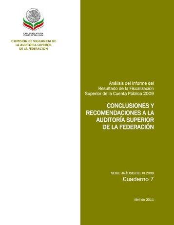 Conclusiones y Recomendaciones a la ASF - Cámara de Diputados