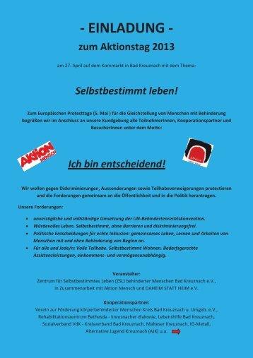 EINLADUNG - zum Aktionstag 2013 - ZsL Bad Kreuznach