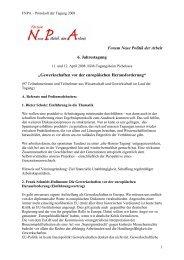 """Forum Neue Politik der Arbeit 6. Jahrestagung """"Gewerkschaften vor ..."""