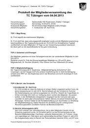 Protokoll der Mitgliederversammlung des - TC Tübingen