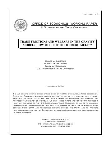 trade frictions and welfare in the gravity model - USITC