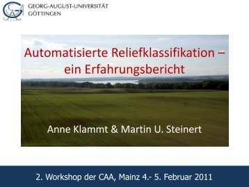 Automatisierte Reliefklassifikation – ein Erfahrungsbericht - AG CAA