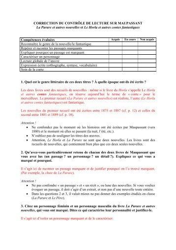 CORRECTION DU CONTRÔLE DE LECTURE SUR ... - WebLettres