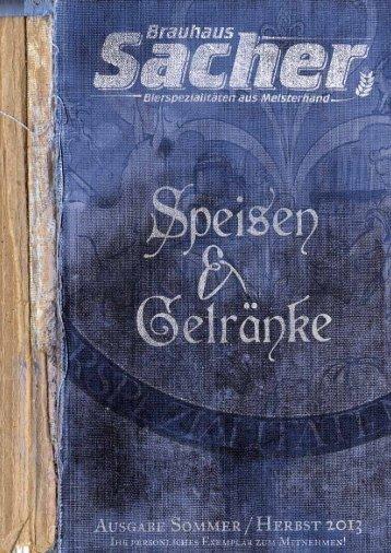 Aktuelle Speisekarte - Brauhaus Sacher