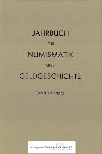 1972 Band XXII - Bayerische Numismatische Gesellschaft eV