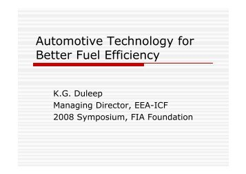 Automotive Technology for Better Fuel Efficiency - FIA Foundation
