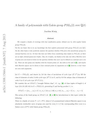 A family of polynomials with Galois group $ PSL_5 (2) $ over ...
