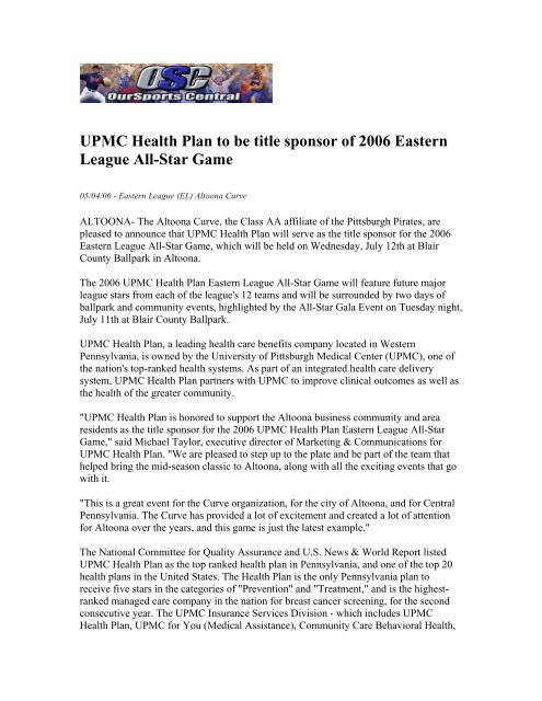 UPMC Health Plan to be title sponsor of 2006 Eastern League All