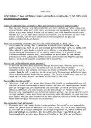 Informationen zum richtigen Heizen und Lüften, insbesondere mit ...