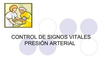 CONTROL DE SIGNOS VITALES PRESIÓN ARTERIAL