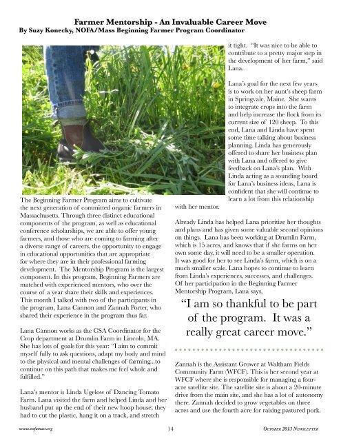 2013 October Newsletter - Northeast Organic Farming Association