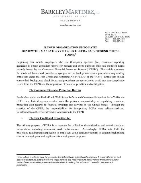 Mandatory Changes to FCRA Background Check Forms