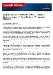 Grußwort Bürgermeister Christoph Ahlhaus - Hamburger Volksbank