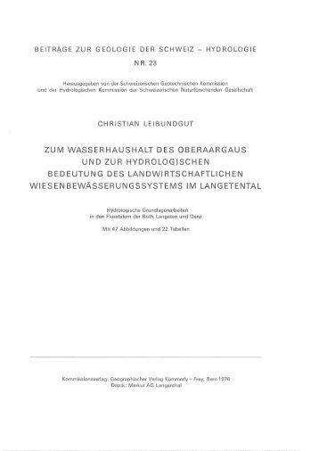 zum wasserhaushalt des oberaargaus und zur hydrologischen ...