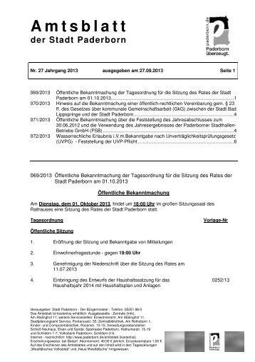 Amtsblatt 27 Jahrgang 2013 - ausgegeben am ... - Stadt Paderborn