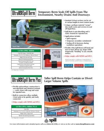 Ultra Spill Berm Ultra Spill Berm Plus - the spill source