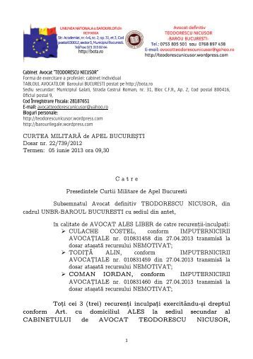vicii procedura-cerere amanare dosar 22 739 2012 CMA Bucuresti ...