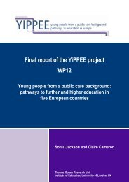 Final report of the YiPPEE project WP12 - Institute of Education ...