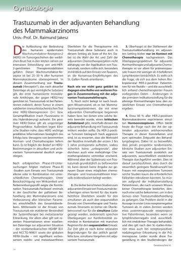 Trastuzumab in der adjuvanten Behandlung des Mammakarzinoms