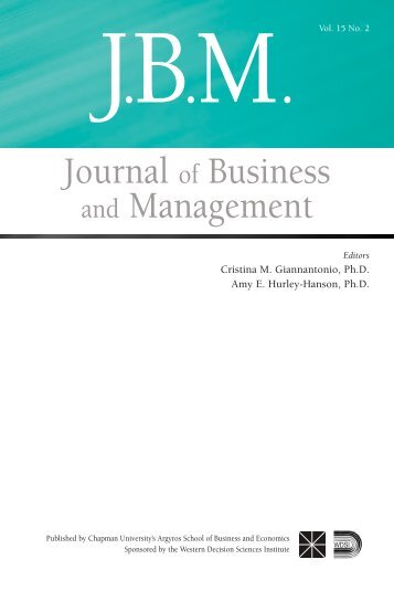 JBM (Vol. 15, No. 2, 2009) - Chapman University