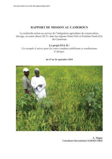 RAPPORT DE MISSION AU CAMEROUN - Agroécologie - Cirad