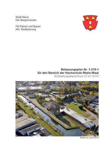 Bebauungsplan Nr. 1-276-1 für den Bereich der Hochschule Rhein ...