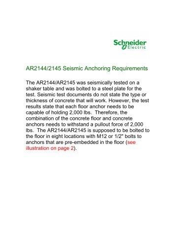 20131206 AR2144 and AR2145 Seismic ... - Schneider Electric