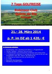 Reiseprogramm und Anmeldung (PDF) - Faszination Golf Reisen
