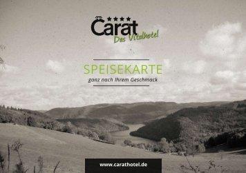 Blätterspeisekarte öffnen - Carat Hotel