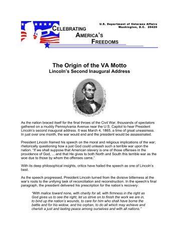 The Origin of the VA Motto - US Department of Veterans Affairs