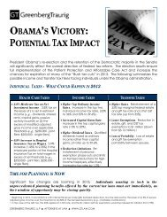 OBAMA'S VICTORY: POTENTIAL TAX IMPACT