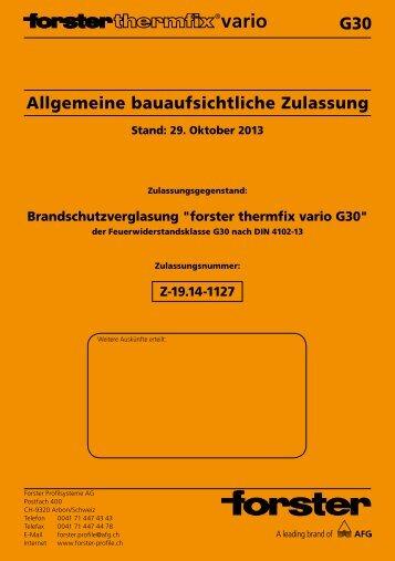 Zulassung Brandschutzverglasung G30 - Forster