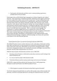 Rethinking Dementia – ABSTRACTS