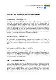 Berufs- und Studienorientierung am AFG - Anne-Frank-Gymnasium