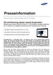 SZ und Samsung starten smarte Kooperation