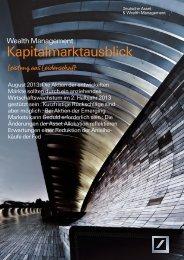 Kapitalmarktausblick August 2013 - Deutsche Asset & Wealth ...