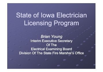 State of Iowa Electrician Licensing Program 8-17-11 BY