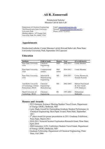 Ali R. Zomorrodi - Penn State Personal Web Server - Pennsylvania ...