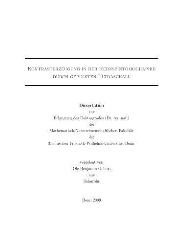 Kontrasterzeugung in der Kernspintomographie durch gepulsten ...
