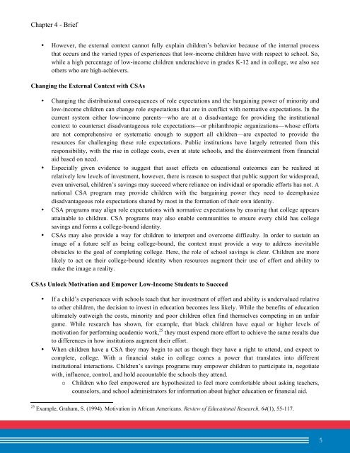 Biannual Report on the Asset and Education Field