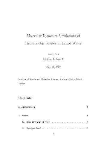 Molecular Dynamics Simulations of Hydrophobic Solutes in Liquid ...