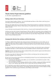 Theatre Archive Project Interview Guidelines - British Library - Sounds