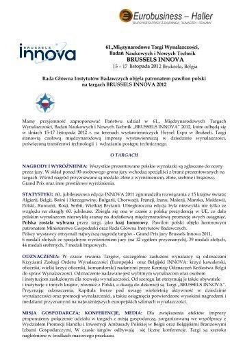 61 Targi BRUSSELS INNOVA 2012.pdf - bestofeast.mwci.eu