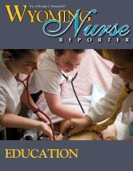 Nurse Reporter Summer 2013 - Wyoming State Board of Nursing