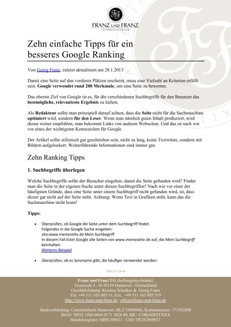 Zehn einfache Tipps für ein besseres Google ... - Franz und Franz