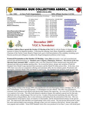 December07 VGCA Newsletter - Virginia Gun Collectors Association
