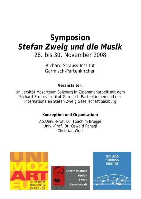 Symposion Stefan Zweig Und Die Musik Internationale Stefan