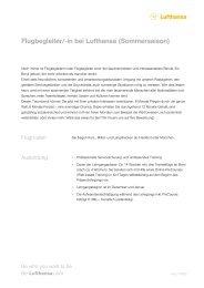 Flugbegleiter/-in bei Lufthansa (Sommersaison) - Studentenwerk ...