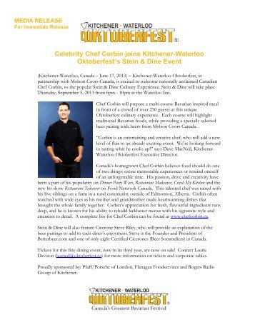 Celebrity Chef Corbin joins Kitchener-Waterloo Oktoberfest's Stein ...